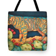 The Moon The Mountains Cacti A Cat Tote Bag