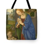 The Virgin Adoring The Child Tote Bag