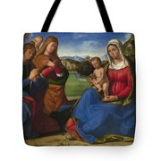 The Virgin And Child Adored By Two Angels Tote Bag