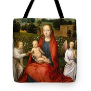 The Virgin And Child Between Two Angels Tote Bag