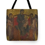 The Virgin And Child Enthroned With Two Angels Tote Bag