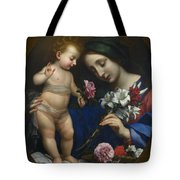 The Virgin And Child With Flowers Tote Bag