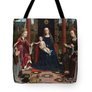 The Virgin And Child With Saints And Donor Tote Bag