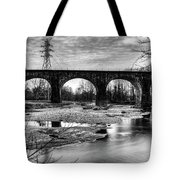 Thomas Viaduct In Black And White Tote Bag by Dennis Dame