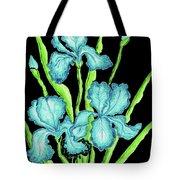 Three  Blue Irises Tote Bag