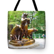 Three Bronze Sculpture Statue Of Bears Great Attraction At New York Ny Central Park By Navinjoshi Tote Bag