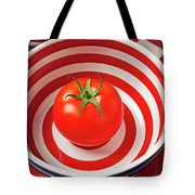 Tomato In Red And White Bowl Tote Bag