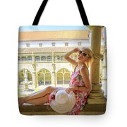 Tourist Woman In Coimbra Tote Bag