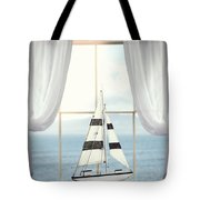 Toy Boat In Window Tote Bag