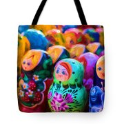 Family Of Mother Russia Matryoshka Dolls Oil Painting Photograph Tote Bag