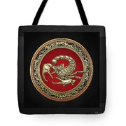 Treasure Trove - Sacred Golden Scorpion On Black Tote Bag