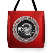 Treasure Trove - Sacred Silver Scorpion On Red Tote Bag