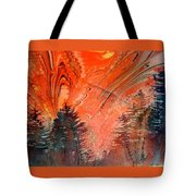 Trees On Red Marbled Paper Tote Bag