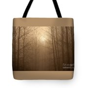Trees Silhouetted In Fog Tote Bag
