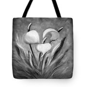 Tropical Flowers In Black And White Tote Bag
