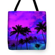 Tropical Palm Trees Silhouette Sunset Or Sunrise Tote Bag