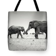 Trunk Pumping Elephants Tote Bag