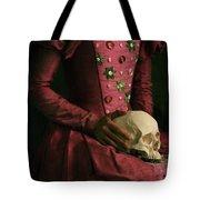 Tudor Woman Holding A Human Skull Tote Bag