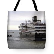 Tugboat Assisting Big Cruise Liner In Venice Italy Tote Bag