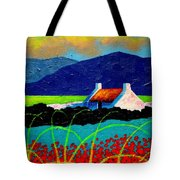 Turquoise Meadow And Poppies Tote Bag