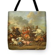 Two Battle Scenes Between Christians And Saracens Tote Bag