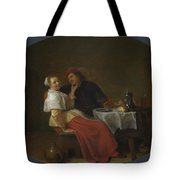 Two Lovers At Table Tote Bag
