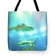Undersea Shark Background Tote Bag