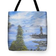 A Man Fishing Through With A Canoe In The Forestry River Tote Bag