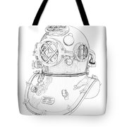 Us Navy Diving Helmet Mark V Tote Bag