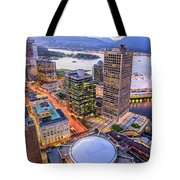 View Of Vancouver At Dusk. Tote Bag