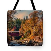 Vermont Covered Bridge Over The Dog River Tote Bag