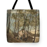 View From A Hill On A House On The Gulf Of Arcachon, August Allebe 1876 Tote Bag