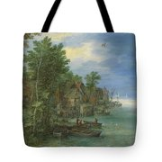 View Of A Village Along A River Tote Bag