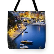 View Of The Harbour At Dusk  Portofino Tote Bag
