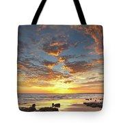 Gale Beach At Sunset. In Algarve Tote Bag