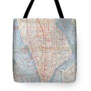 Vintage Map Of Lower Manhattan  Tote Bag
