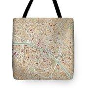Vintage Map Of Paris  Tote Bag