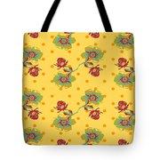 Vintage Wallpaper Seamless Rose Flower Pattern On Circles Polka  Tote Bag