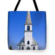 Vintage White Church With Bell  Tote Bag