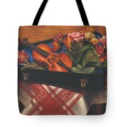 Violin Case And Flowers Tote Bag