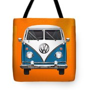 Volkswagen Type 2 - Blue And White Volkswagen T 1 Samba Bus Over Orange Canvas  Tote Bag by Serge Averbukh