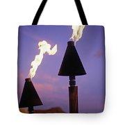 Waikiki, Tiki Torches Tote Bag by Carl Shaneff - Printscapes