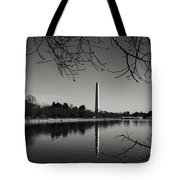 Washington Memorial Framed By Cherry Trees In The Winter Tote Bag