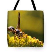 Wasp On Wildflower Tote Bag