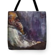 Man Watching Tv  Tote Bag