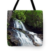 Water Cascading Over Rocky Cliffs Tote Bag