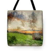 Watercolor Painting Of Beautiful Summer Vibrant Sunset Over Coun Tote Bag
