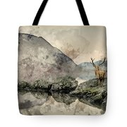 Watercolor Painting Of Stunning Powerful Red Deer Stag Looks Out Tote Bag