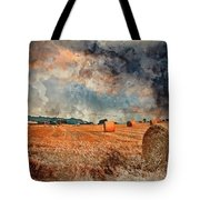 Watercolour Painting Of Beautiful Golden Hour Hay Bales Sunset L Tote Bag