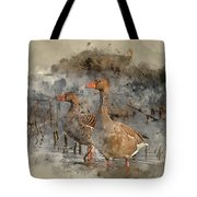 Watercolour Painting Of Beautiful Greylag Goose Anser Anser In W Tote Bag